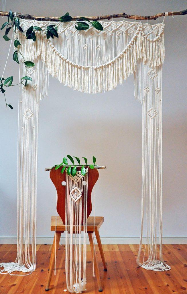 Boho Hochzeit, Makramee, Traubogen, Hochzeitsdeko, Dekoverleih